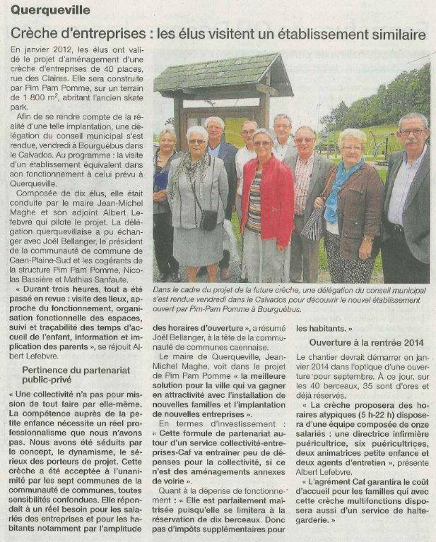 """Article """"Ouest France"""" : projet à Querqueville"""