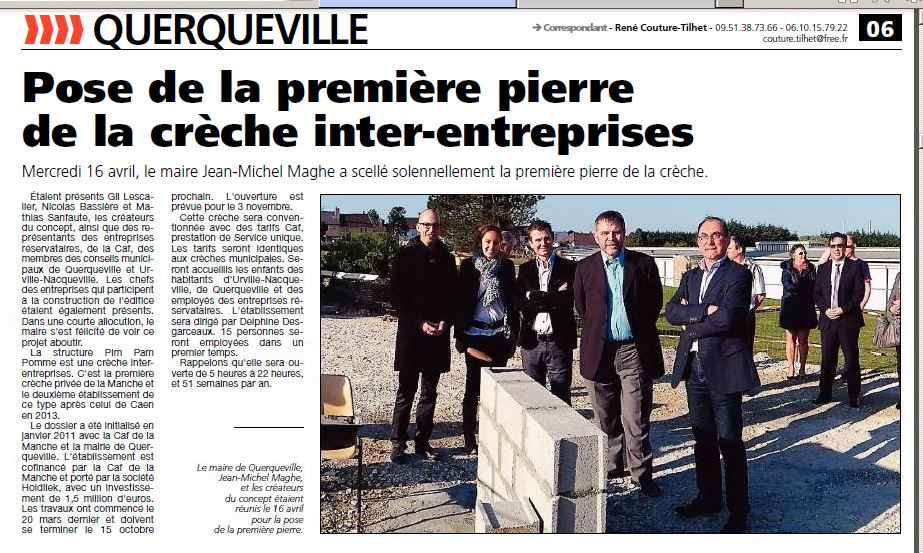 """Article """"Presse de la Manche"""" : 1ère pierre à Querqueville"""