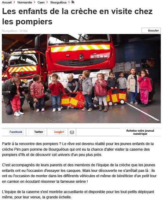 Visite de la caserne des pompiers pour la crèche de Bourguébus