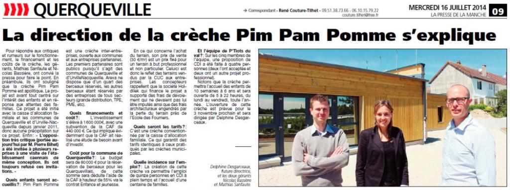 Article PRESSE DE LA MANCHE : Pim Pam Pomme Querqueville s'explique