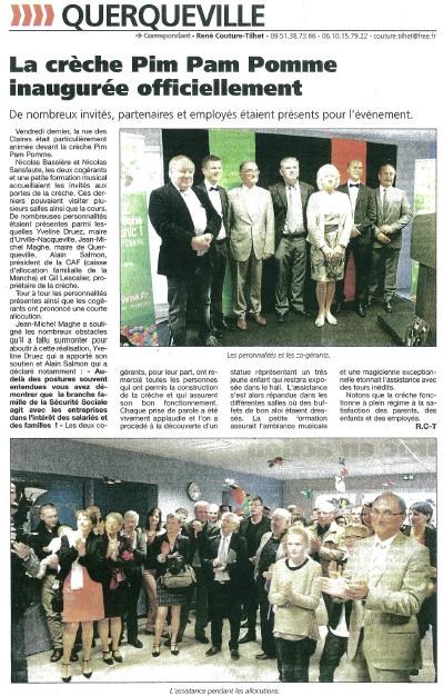 Article Presse de la Manche : Inauguration Pim Pam Pomme Querqueville