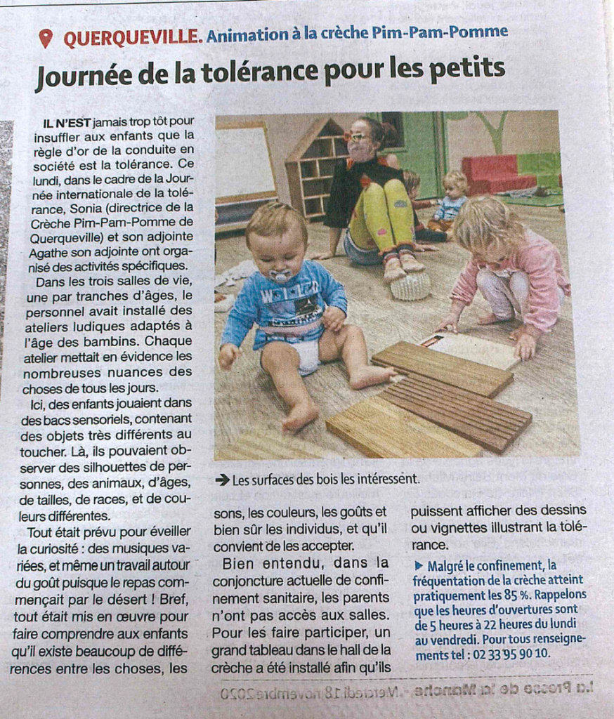JOURNÉE DE LA TOLÉRANCE POUR LES PETITS